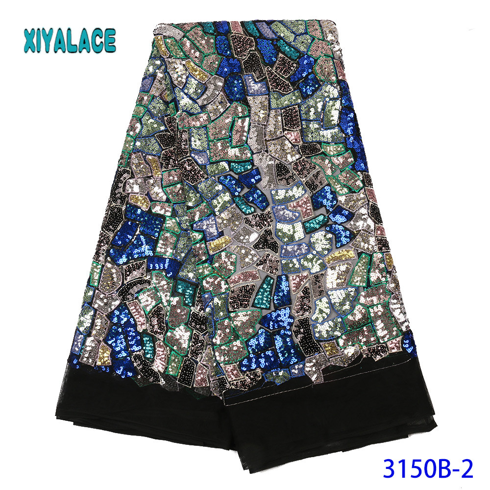 African Lace Fabric French Sequins Lace Fabric Women Wedding Dress 2019 High Quality Lace African Tulle Lace Fabric YA3150B-2
