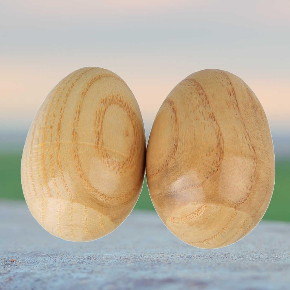 2 pçs de madeira ovo maracas shakers música percussão brinquedo instrumento musical para crianças crianças brinquedo engraçado