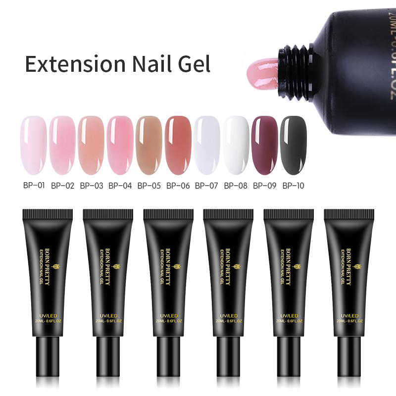 Né joli 20ml Extension Gel à ongles cristal UV LED Gel dur acrylique UV Gel vernis vernis à ongles