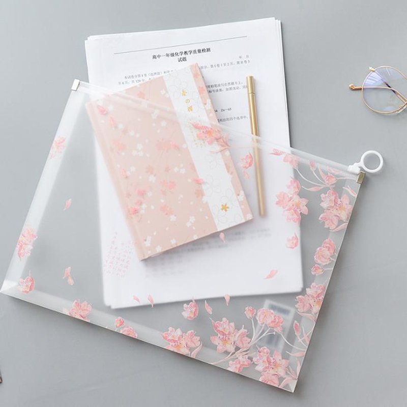 1 Pcs Lovely A4 Cherry Sakura Transparent PP Papers Books Office File Folder Document Bags Storage Organizer Stationery Gifts