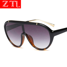 ZT Oversize One Piece Sunglasses Women Cool Gradient Goggle Cover Sun Glasses Men Mirror UV400 Flat Top Shield