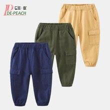 DE PEACH Autumn New Baby Boys Casual Trousers Spring Cotton Children Loose Trousers Boys Pants