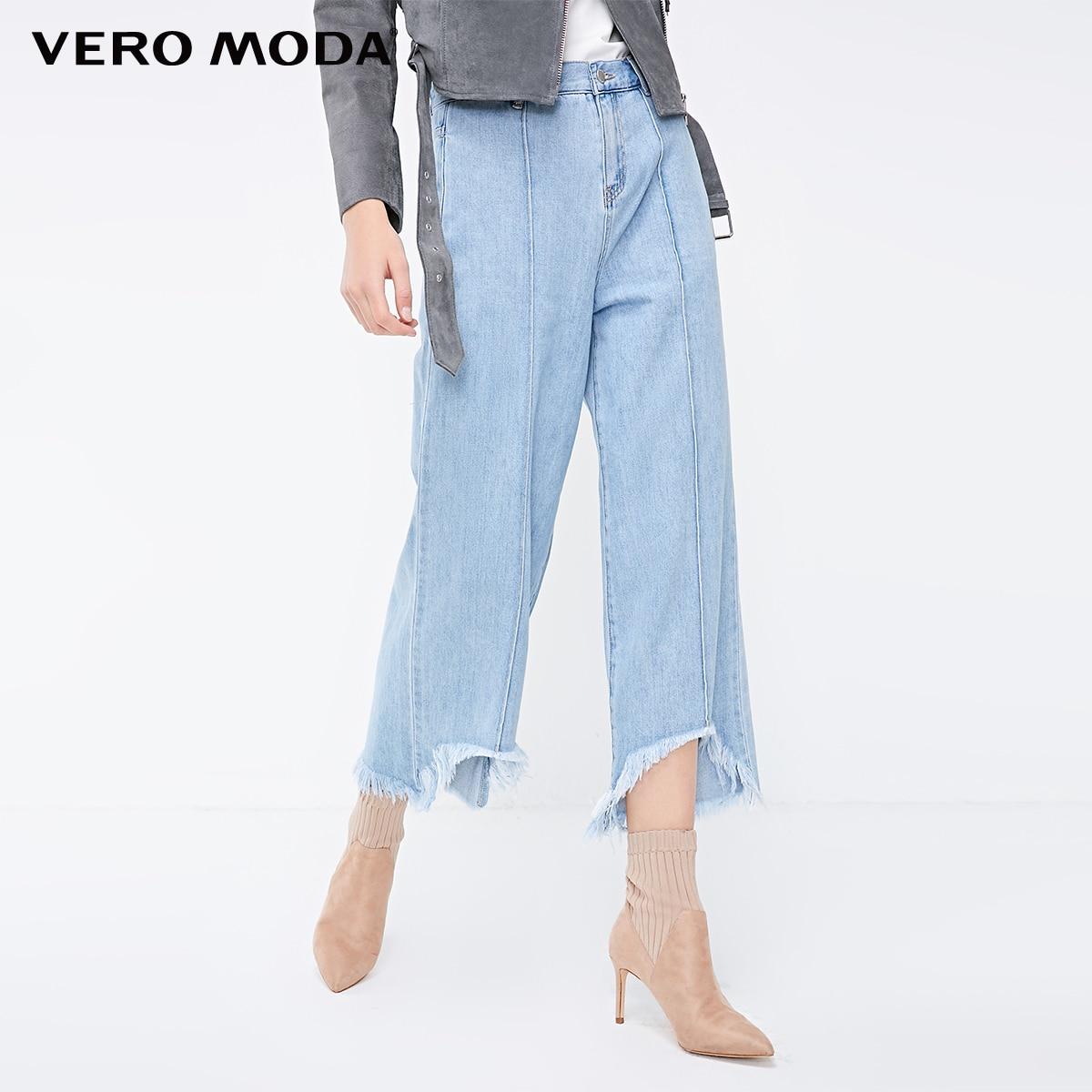 Vero Moda 2019 New Arrivals Women's Washed Fading Raw-edge Cuffs Crop Jeans | 318349579