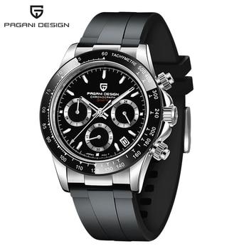 2020 New PAGANI DESIGN Luxury Brand Mens Sports Watches Waterproof Chronograph Japan VK63 Quartz Movement Watch Rubber Strap - Silver-black