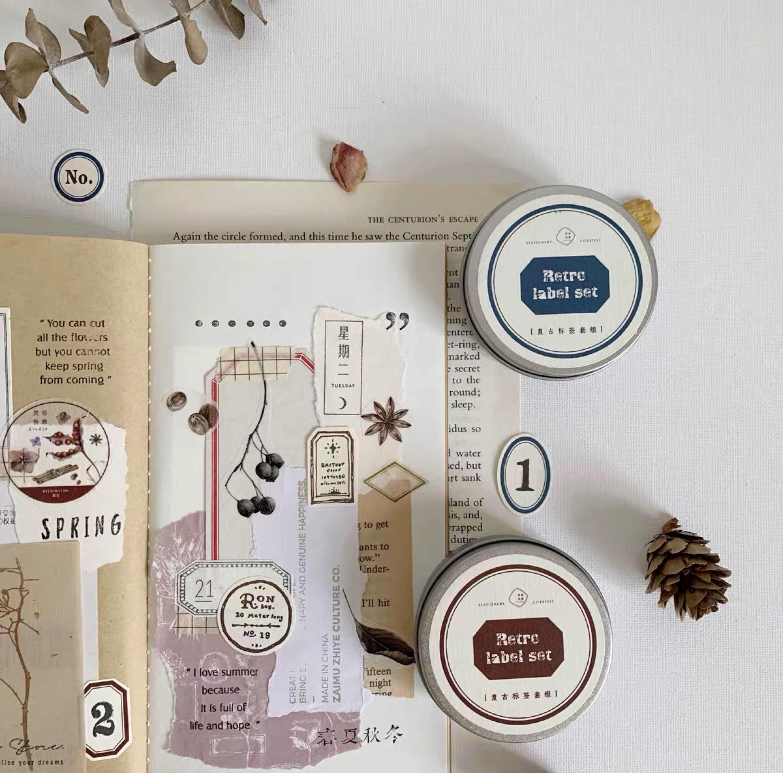 Juego de etiquetas adhesivas Retro, pegatinas en escamas, álbumes de fotos artesanales, etiqueta adhesiva para hacer tarjetas, novedad de 2020