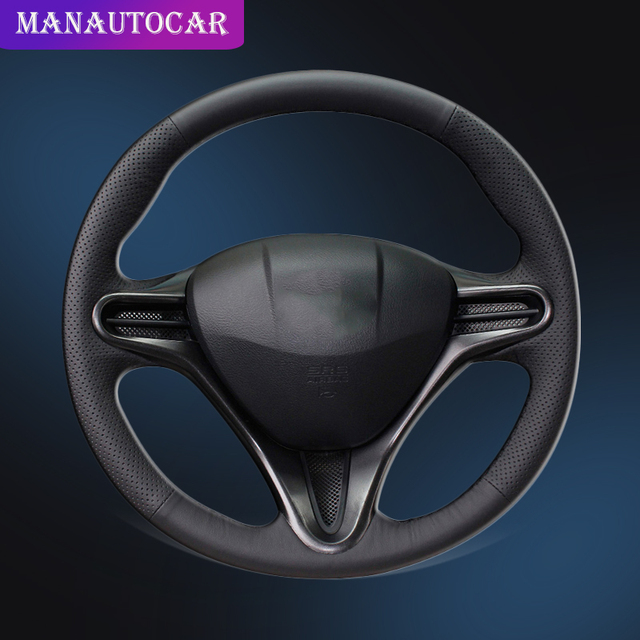 Auto Braid On The Steering Wheel Cover for Honda Civic 8 2006 2011 (3 Spoke) Car styling Hand Sewing Car Steering Wheel Cover