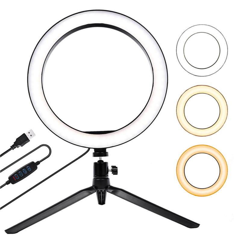 10 inch 26cm ring light LED knob type stepless dimming beauty fill light mobile phone live light for all mobile phones, cameras image