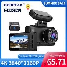 OBDPEAK – caméra de tableau de bord à double objectif M63s, Ultra HD, 4K, enregistreur vidéo WDR pour voiture, Vision arrière, WIFI, GPS, Parking 24H