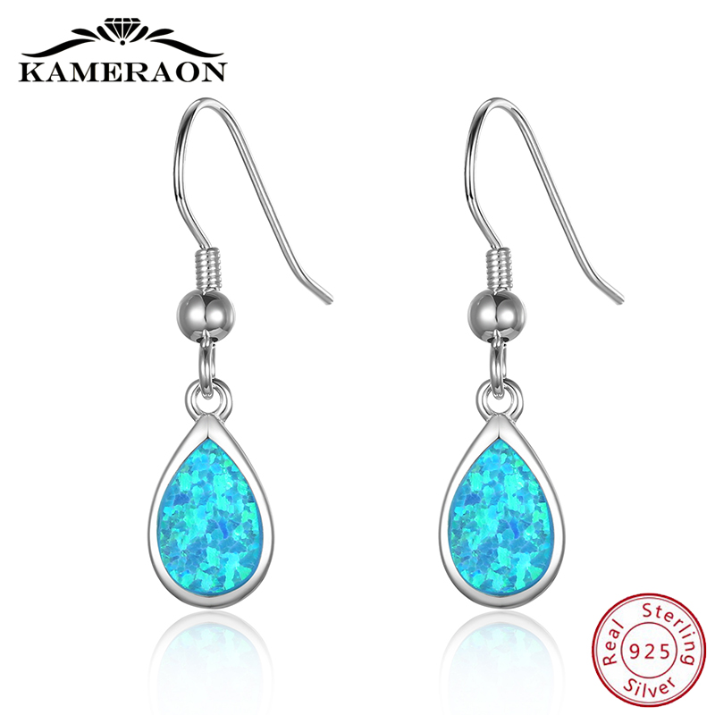Opal Natural Stone Earrings Women's  Korean Pendientes Long Silver 925 Earrings Dangling Fashion 2019 Drop Wedding Jewelry