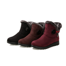 2019 Fashion Women Boots Ankle Snow Suede Female Winter Warm Fur Shoes Booties Bota