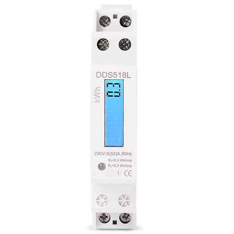 Single Phase LCD Backlit Wattmeter Power Consumption Watt Energy Meter kWh AC 5-32A 230V 50Hz 110V 60Hz Electric Din Rail Mount