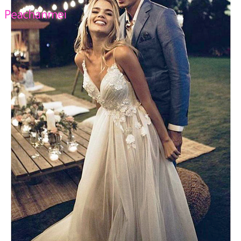 <font><b>Boho</b></font> <font><b>Wedding</b></font> <font><b>Dress</b></font> <font><b>2019</b></font> Appliqued with Flowers Tulle A-Line <font><b>Sexy</b></font> <font><b>Backless</b></font> Beach Bride <font><b>Dress</b></font> <font><b>Wedding</b></font> Gown image