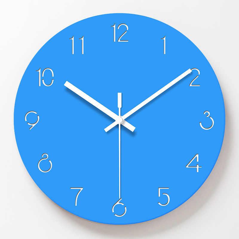 Reloj de pared de 12 pulgadas de cristal acrílico moderno reloj de decoración para el hogar movimiento silencioso Relojes de pared azules sin marcación