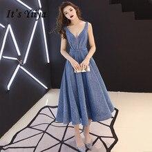 Blue Evening Dresses It's Yiiya R250 V-neck Shining Women Party Dress 2020 A-line Sleeveless Lace Up Elegant Formal Vestidos elegant v neck sleeveless leaf print a line women s maxi dress