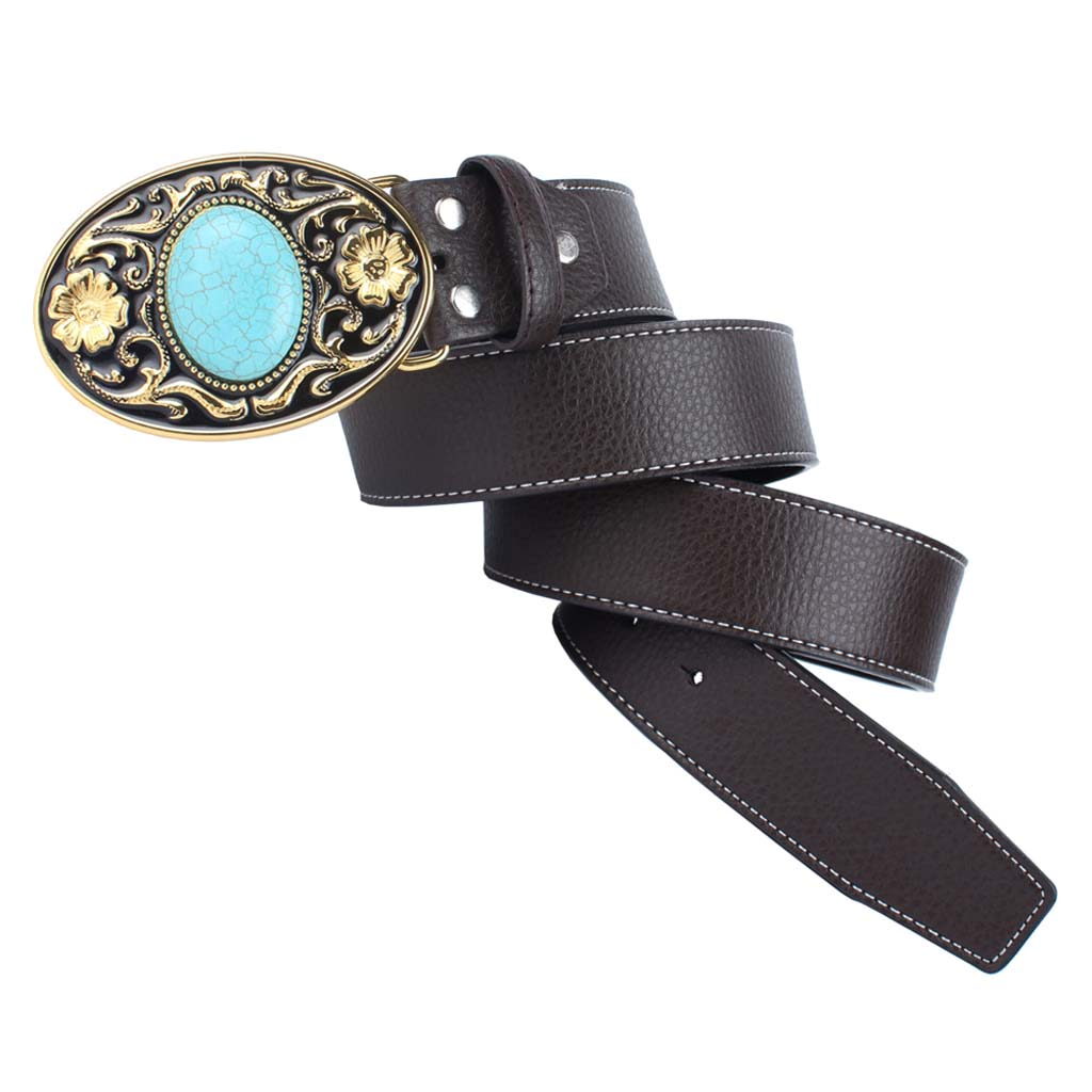 Retro Western Leather Belt Arabesque Turquoise Buckle Unisex Adjustable