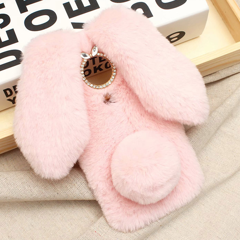 3D Rabbit Diamond <font><b>Case</b></font> for <font><b>Nokia</b></font> 7.2 6.2 <font><b>7.1</b></font> 6.1 7 Plus 8 Sirocco 1 2 3 5 6 2018 Fur Winter Warm Hairy Fluffy Bunny Soft Cover image