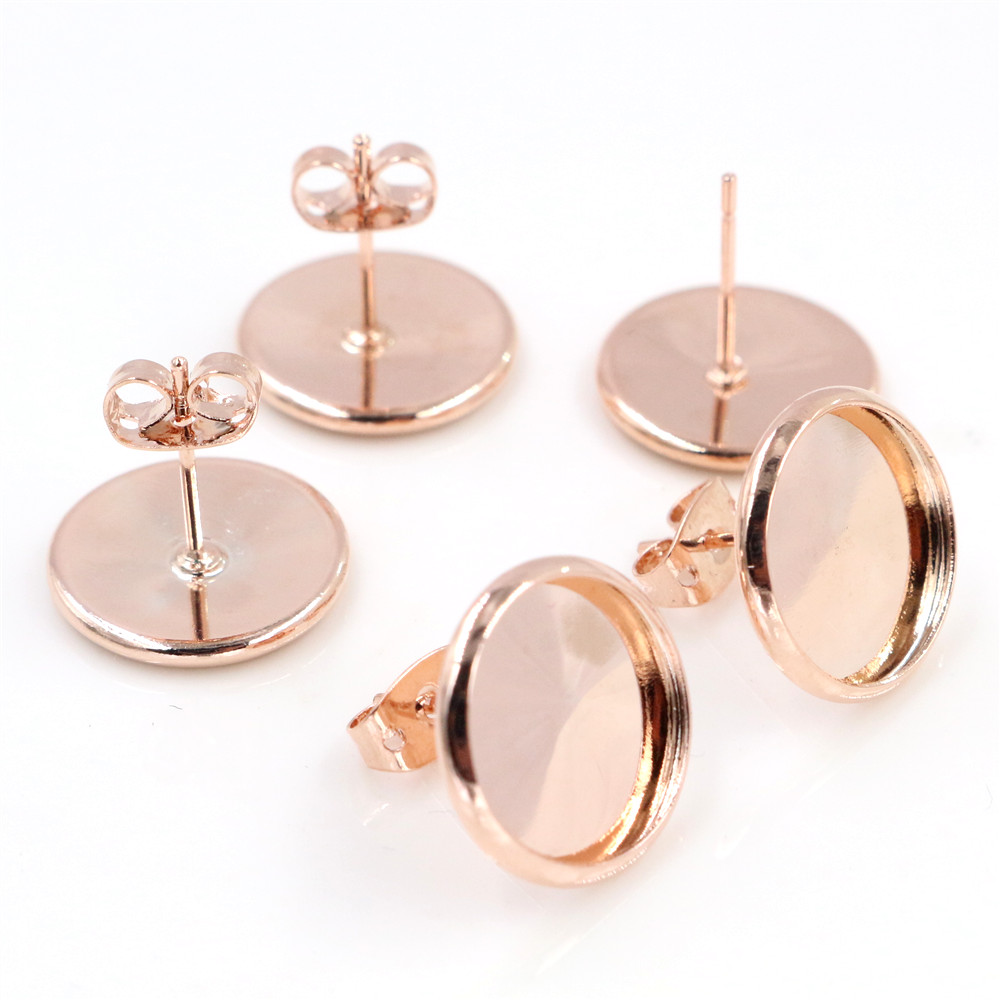 12mm 10pcs Rose Gold Color Plated Earring Studs,Earrings Blank/Base,Fit 12mm Glass Cabochons,Buttons;Earring Bezels (L4-13)