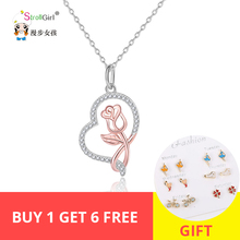 Strollgirl 100%925 sterlingsilver Rose gold heart-shaped necklace and pendant woman sterling silver jewelry Valentine's Day gift
