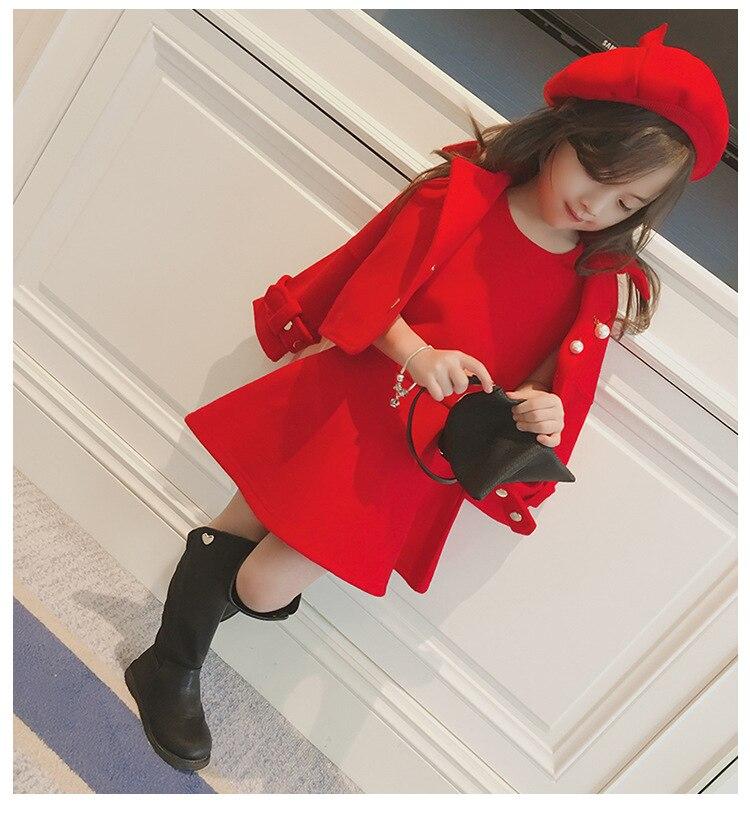Children Girls Clothing Girls Winter Clothes 2019 Winter Baby Girls Warm Sleeveless Vest Dress +Woolen Jacket Coat 3PCS Sets (4)