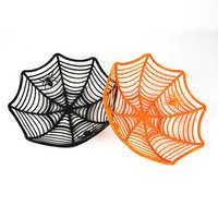 1 Uds. Frutero de Halloween cesta de dulces de tela de araña tazón de naranja dulce negro caja plástica para dulces decoración de Halloween suministros para fiestas