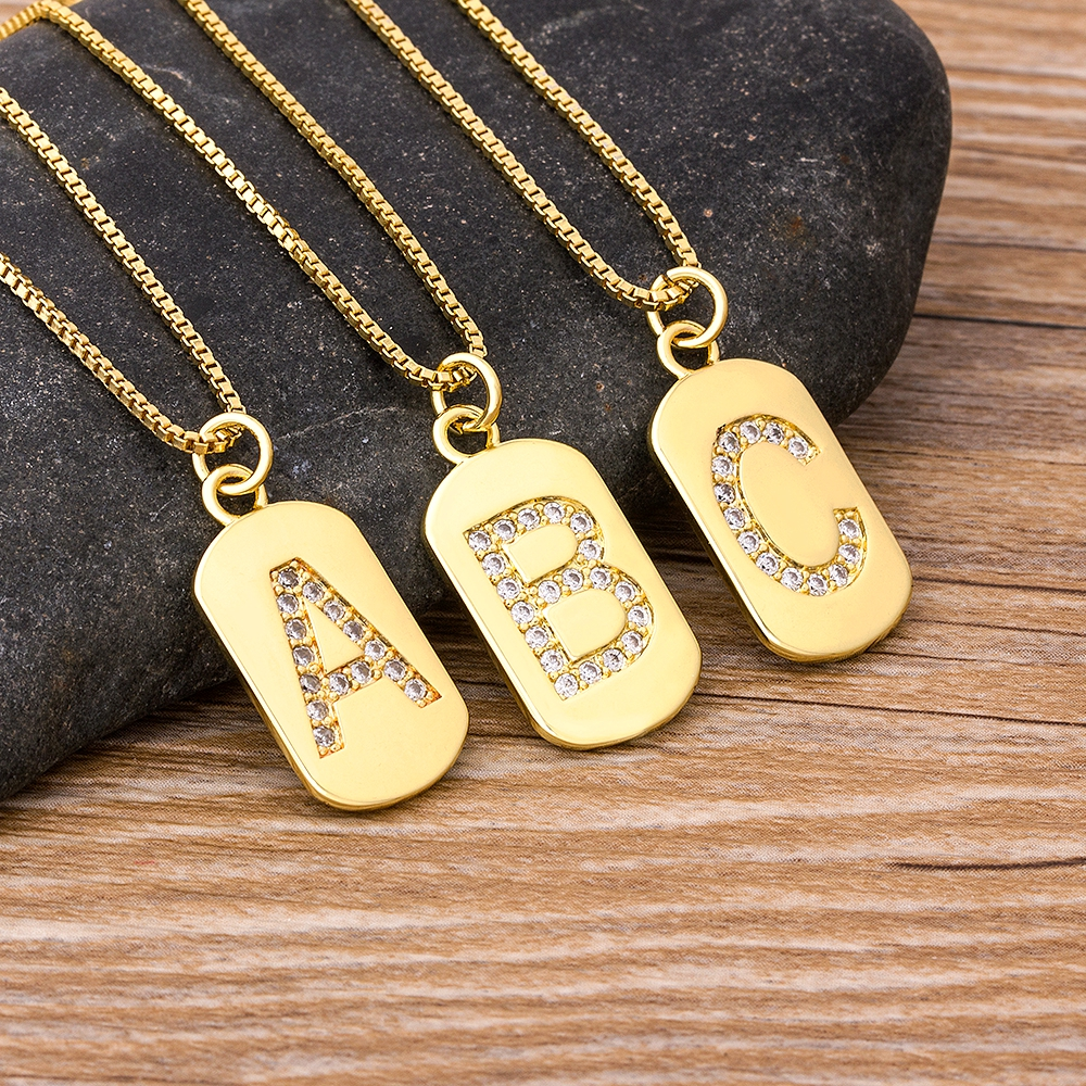 2020 New Design Luxury Initial A-Z 26 Letters Necklace Charm  Copper Zircon Pendant Choker Family Name Jewelry Best Wedding Gift