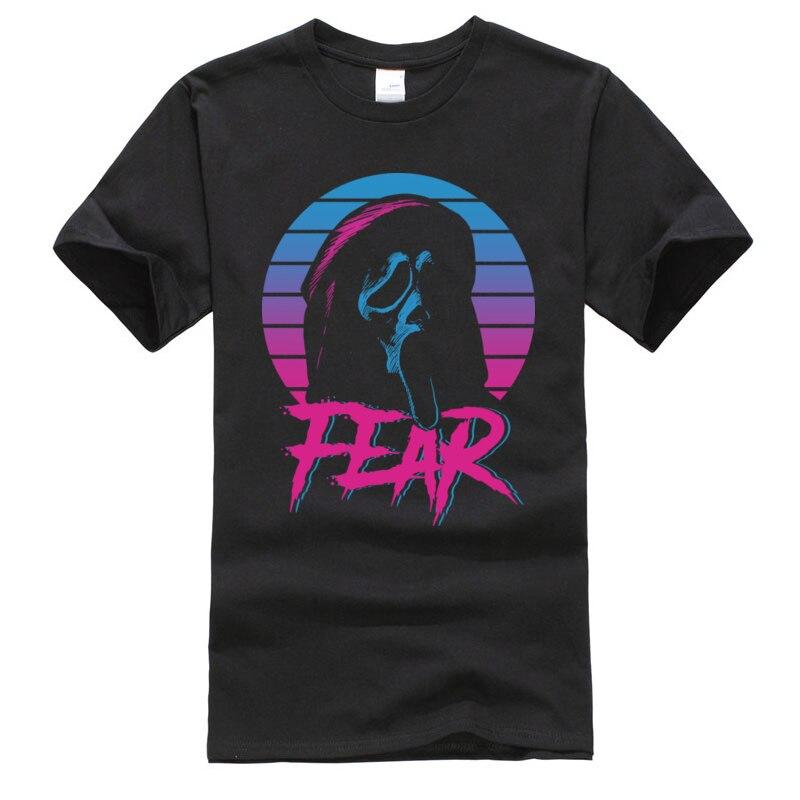 Medo gritando horror halloween alienígena grim tshirts vaporwave crânio dos homens t camisas em torno do pescoço 100% algodão topos & t qualidade superior