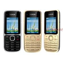 Nokia móvil C2 C2 01, Original, dorado, libre, GSM, renovado, con teclado ruso, hebreo y árabe