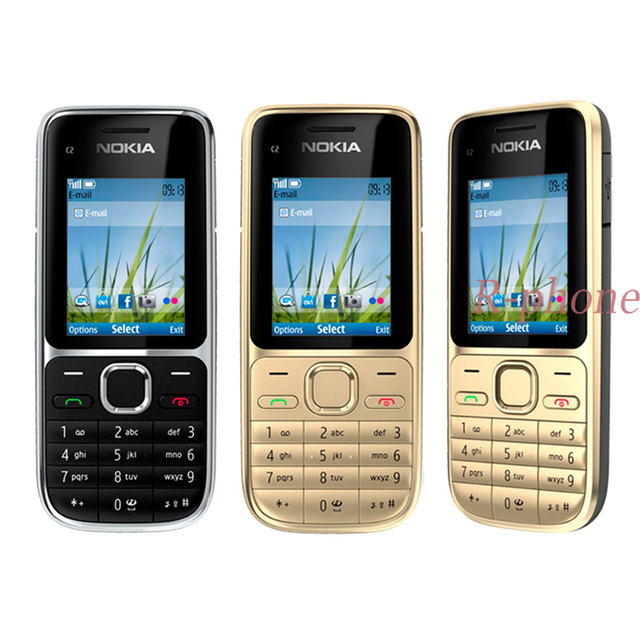 Téléphone portable dorigine Nokia C2 C2 01 or débloqué téléphones portables reconditionnés GSM et clavier arabe hébreu russe