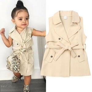 KiBrand/От 2 до 7 лет; детская одежда для девочек; ветронепроницаемая куртка; верхняя одежда; Тренч без рукавов; Модные осенние повседневные курт...