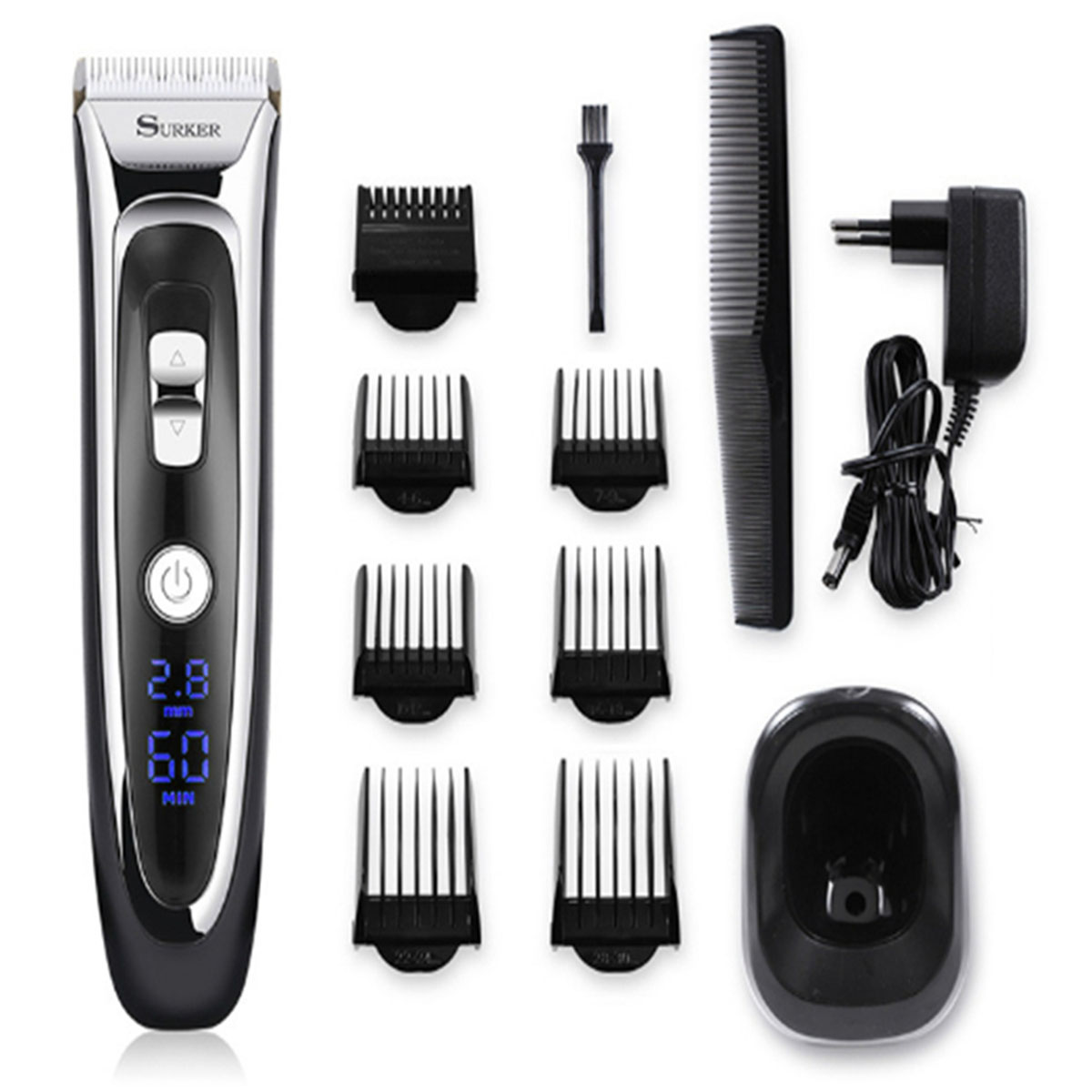 Professional Rechargeable Electric Hair Trimmer Men Cordless Haircut Machine Beard Razors Hair Clipper With Digital LED Display