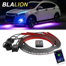 Luces LED de bajo brillo para coche, lámpara de ambiente con Control remoto/aplicación, tira Flexible RGB, chasis decorativo, luces de neón
