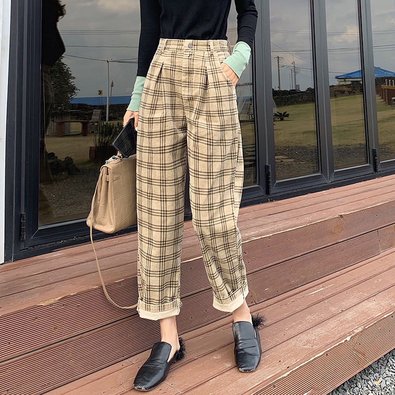 MISHOW Atumn Winter Vintage High Waist Plaid Pants Women Causal Pleated Hkaki Long Pant  MX19D2141