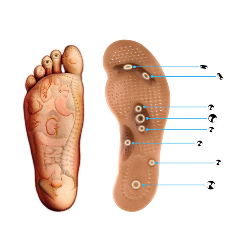 Купить с кэшбэком Body Detox Slimming Magnetic Foot Acupuncture Point Therapy Insole Cushion Massager Brioche Comfort Massage Shoe Pads Therapy