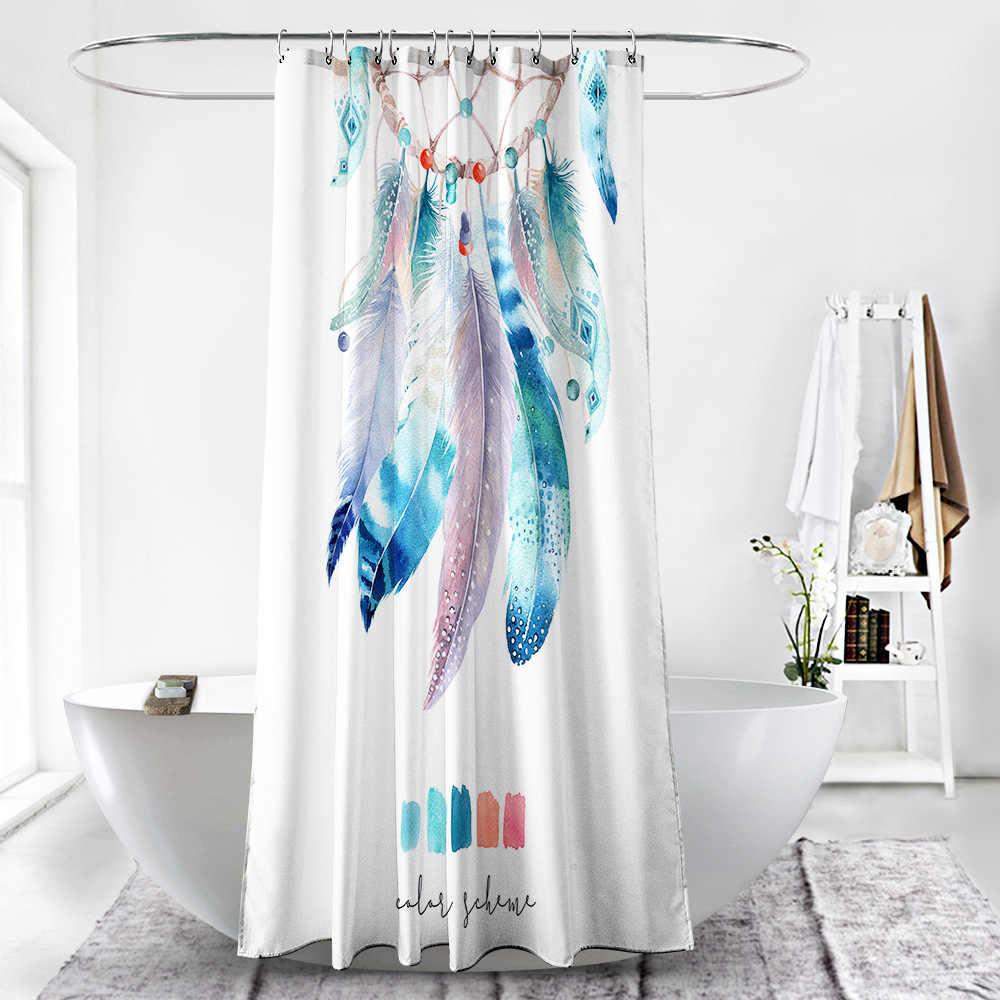 Kleurrijke Veer Polyester Waterdicht Douche Gordijnen Hoge Kwaliteit Nordic Foto 'S Douchegordijn In De Badkamer
