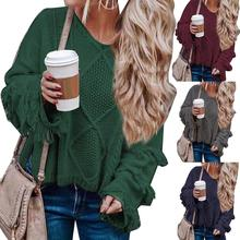 цена на Autumn Winter Women Sweater Loose Sweater Solid Color Tassel Flare Sleeve O-Neck Jumper For Women's Clothing