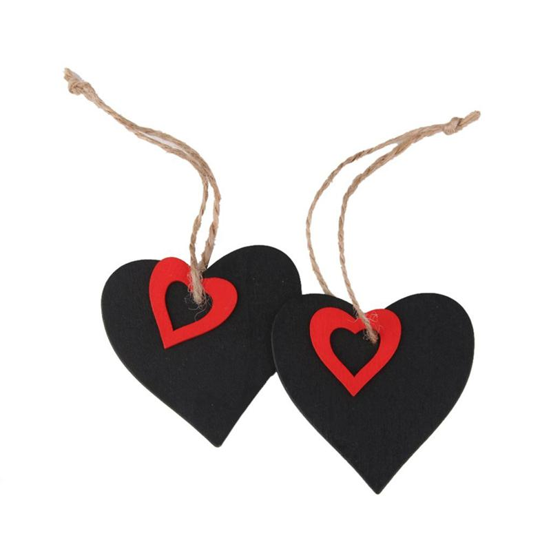 Mini Wooden Chalkboard Heart Shaped DIY Hanging Gift Price Tags Ornaments Decor