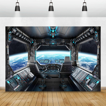 Laeacco Birthday Photography Backgrounds Universe Space Capsule Spaceship Little Astronaut Photo Backdrops For Photo Studio Prop