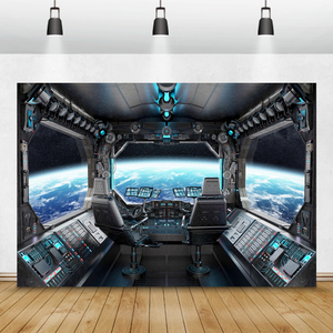 Image 1 - Laeacco Birthday Photography Backgrounds Universe Space Capsule Spaceship Little Astronaut Photo Backdrops For Photo Studio Prop