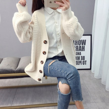 Casual Female Sweater Knitting Solid Deep V-Neck Cardigan Tops Buttons Streetwear Loose Single Breasted Long Sleeve Sweater double breasted v neck knitting cardigan