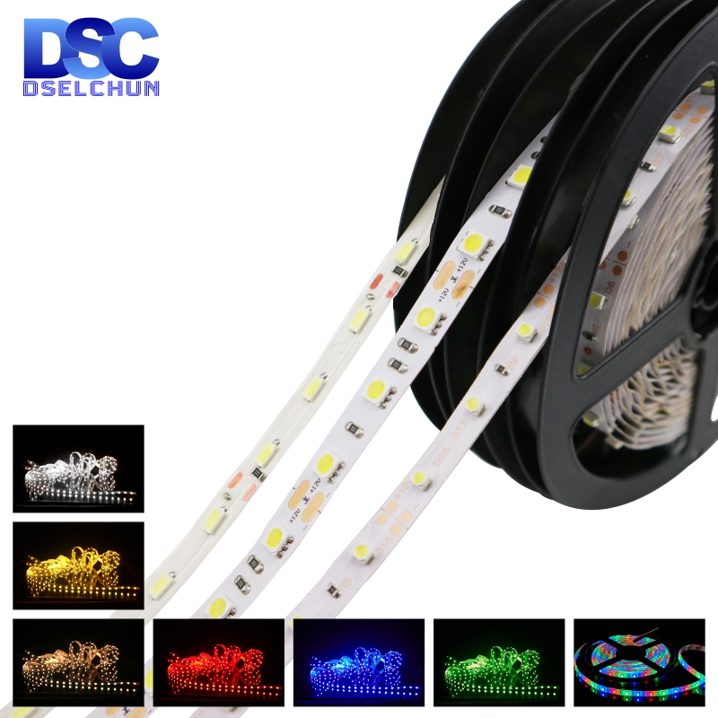 5m/lot LED Strip DC12V <font><b>5050</b></font> 2835 <font><b>60</b></font> LEDs/m Flexible LED Light RGB/White/Warm White/Blue/Green/Red Waterproof LED Strip Lights image