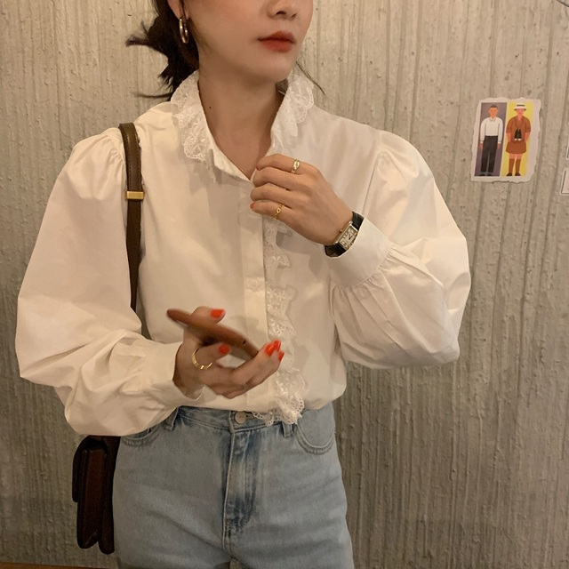 REALEFT Elegant White Women's Blouse Lace Patchwork Lantern Sleeve Buttons Office Shirts Tops Female 2021 New Spring Summer 4