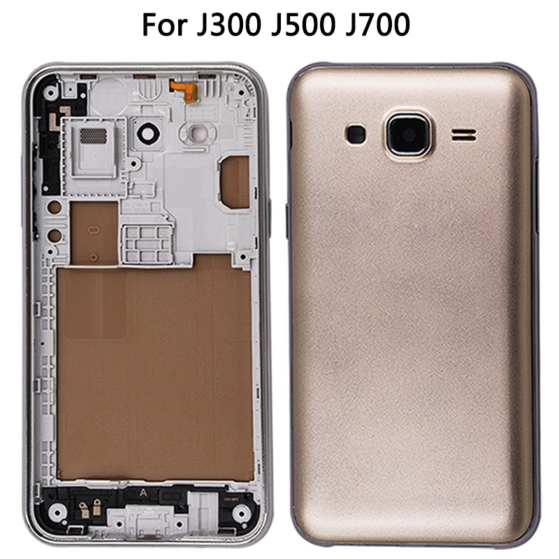 For Samsung Galaxy J3 / J5 / J7 2015 Battery Cover + Middle Frame Rear Plastic Door For J300 / J500 / J700 Housing Back Cover