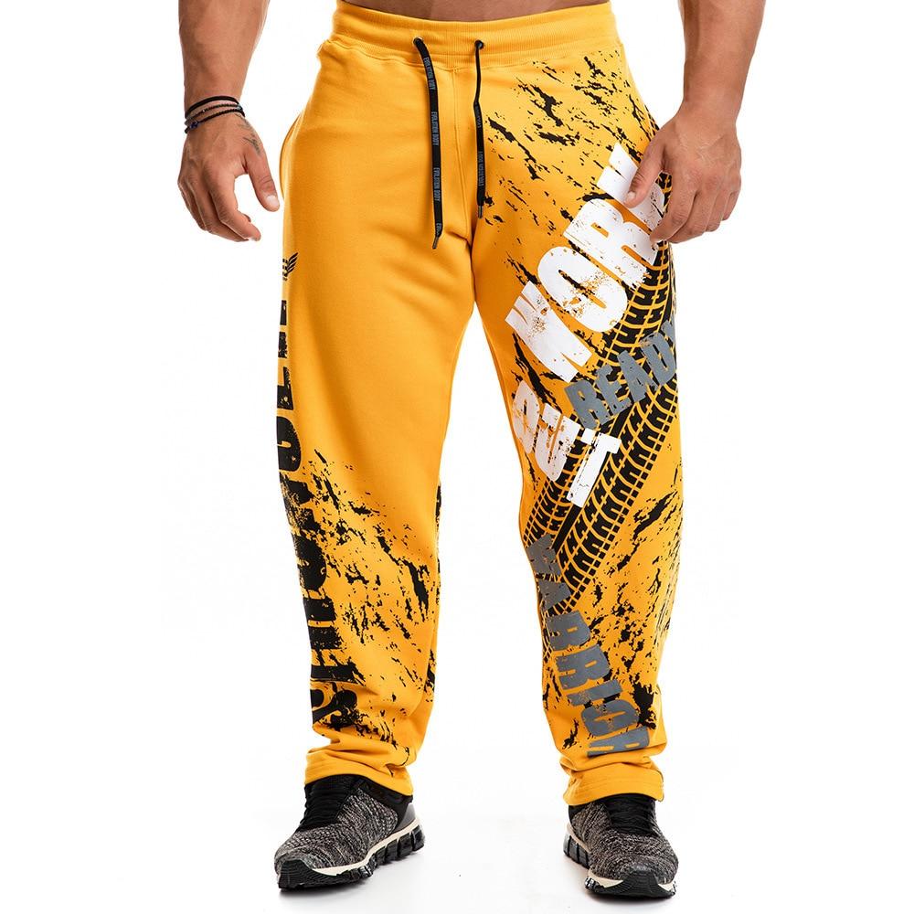Штаны спортивные мужские с принтом, хлопок, Свободные повседневные джоггеры, тренировочные штаны для спортзала, фитнеса, тренировок