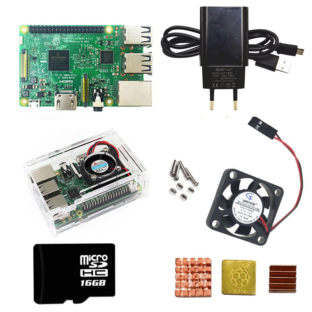 Raspberry pi 3 modelo b kits + acrílico caso/abs + ue/eua fonte de alimentação com cabo usb e 16sd cartão dissipador calor