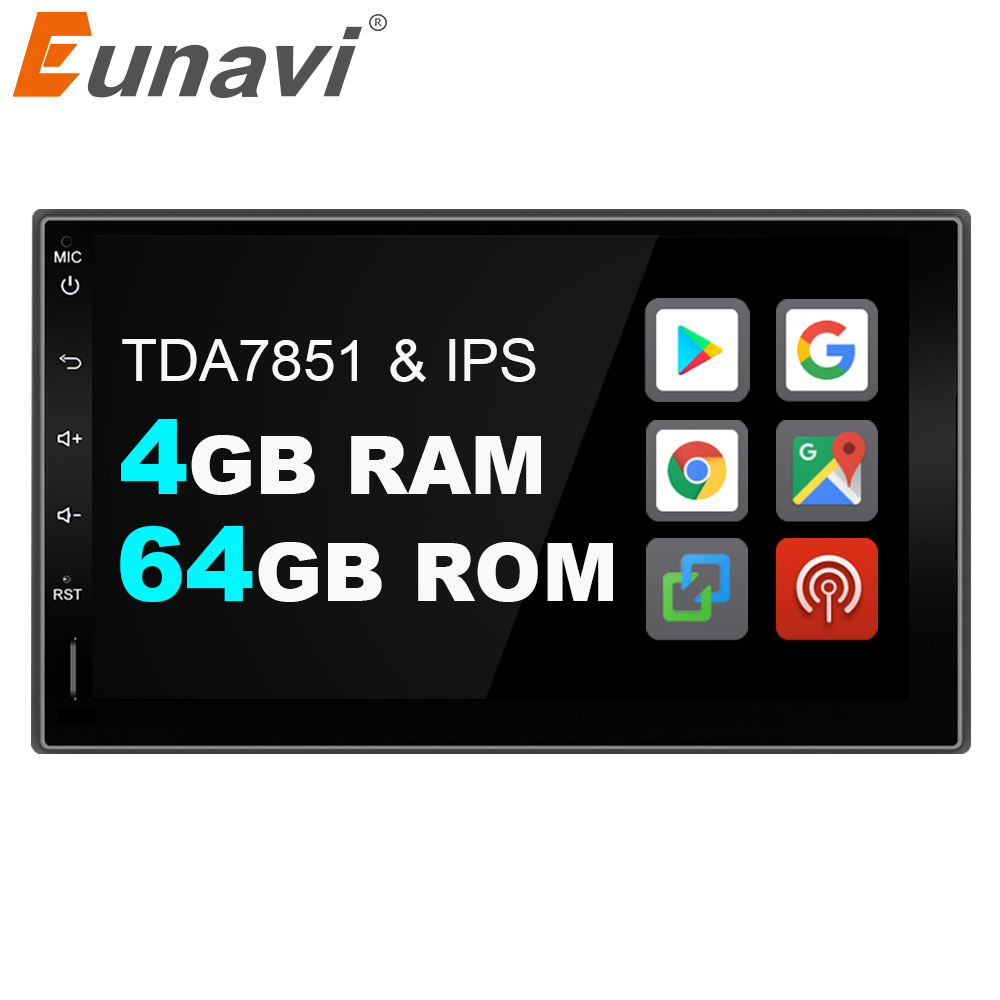 Eunavi 2 Din Android 9.0 Universal Car Radio Stereo Double 2din Mutimedia GPS Navigation IPS TDA7851 4GB 64GB 8 CORES DSP WIFI