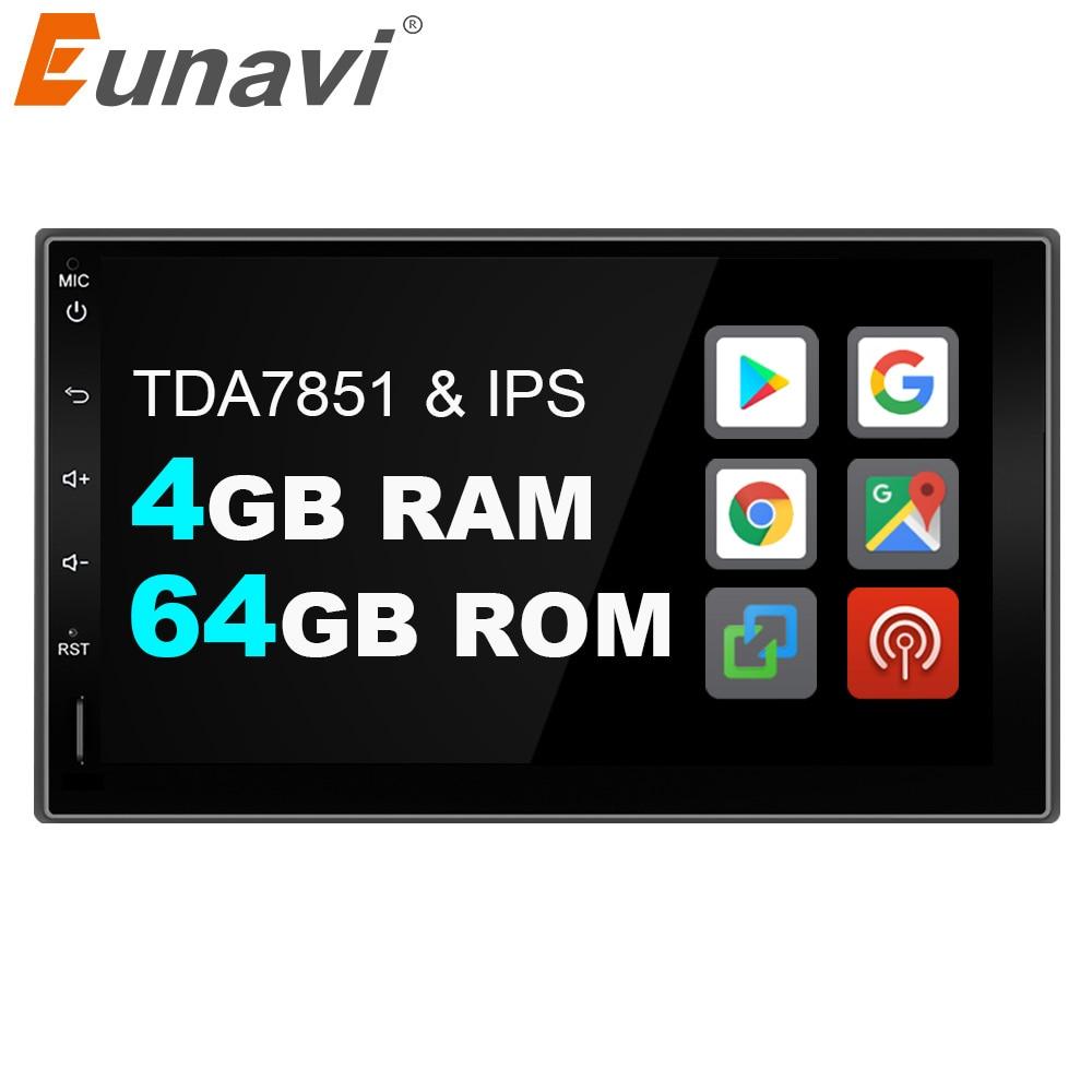 Eunavi 2 Din Android 9.0 Universal Car Radio Stereo Double 2din Mutimedia GPS Navigation IPS TDA7851 4GB 64GB 8 CORES DSP WIFI