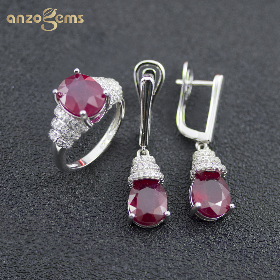 Anzogems 100% Natural Africa Ruby Jewelry Sets Real 925 Sterling Silver Earrings Ring Red Gemstone Jewelry For Women's Gift 2020