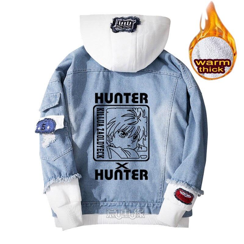 hunter x hunter hoodie Killua Zoldyck cosplay coat Denim jacket for men winter women Jeans Outerwear warm Loose sweatshirt