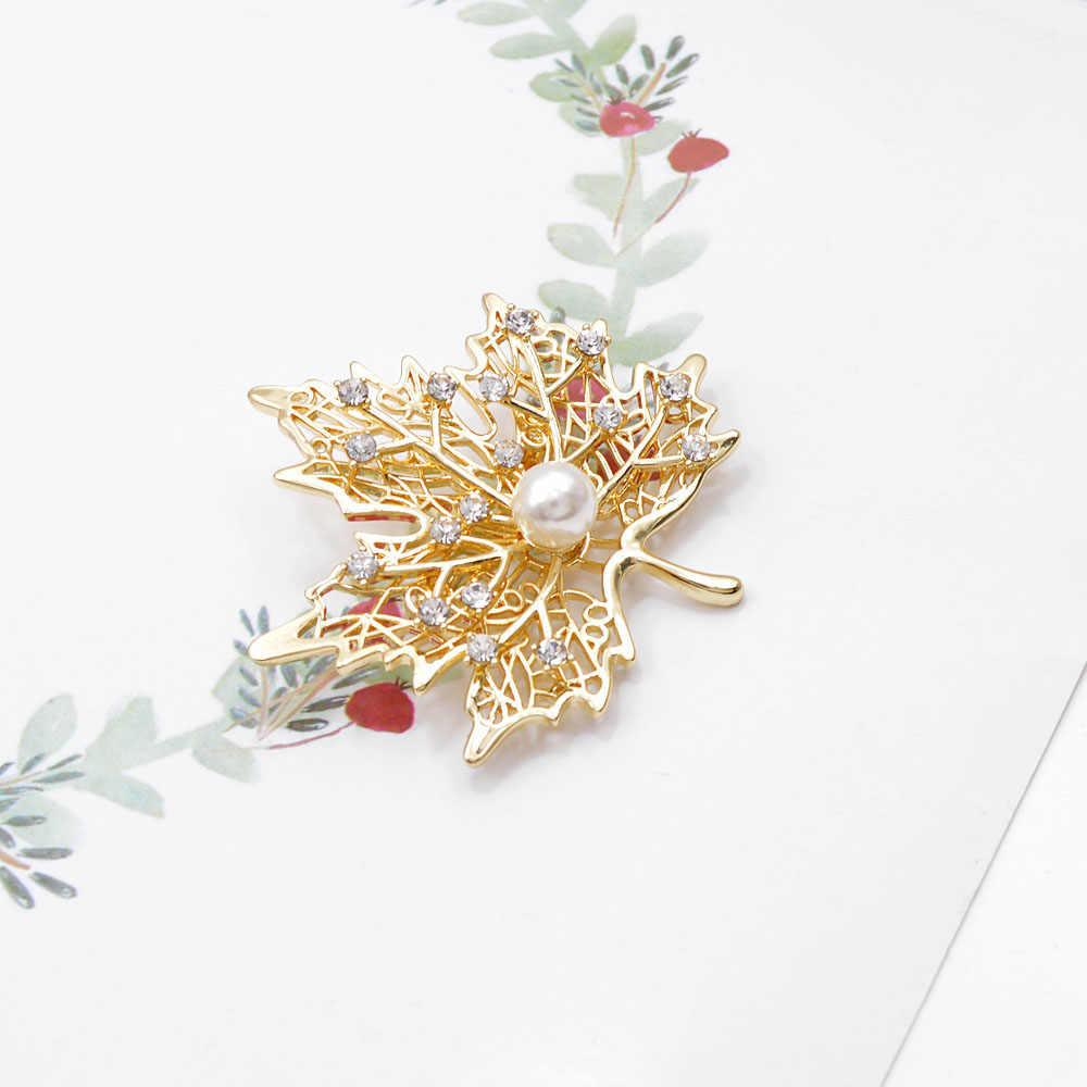 CINDY XIANG strass et perle érable broches pour les femmes couleur or hiver Design luxe mariage broche broche haute qualité cadeau