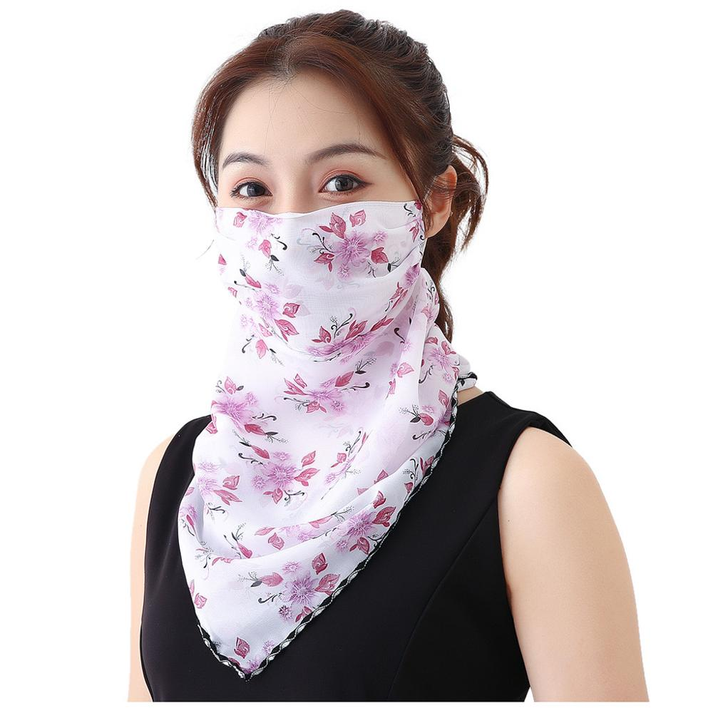 Women Sun Protection Print Scarf Dustproof Neck Scarf Masks Mouth Mask Dust Respirator Washable Reusable Masks